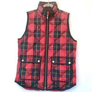 J. Crew Red Navy Tartan Plaid Puffer Vest  Size XS